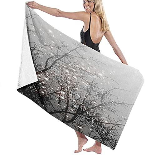 AIMILUX Toalla de Playa,Moda árbol mágico místico Hermosa Rama de árbol Negro con Copo de Nieve,Toallas de Baño Toallas de Acampada Piscina Natación Playa Toallas de Mano Ducha Toallas de Mano