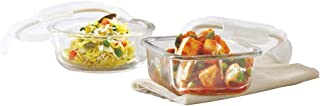 Borosil Klip N Store Glass Food Container, 320Ml Sqr & 400Ml Rnd, for Kitchen Storage with Air Tight Lid - Microwave Safe
