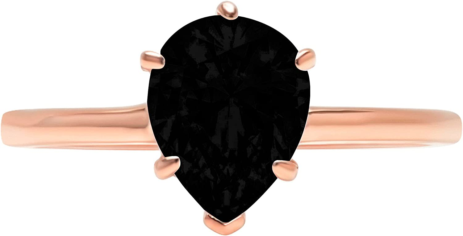 Finally popular brand 0.9ct Ranking TOP1 Brilliant Pear Cut Solitaire Natural Flawless Blac Genuine
