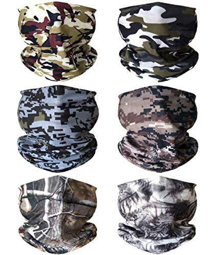 KINGREE 6PCS Outdoor Magic Scarf, Elastic Headbands, Headscarves, Headwear, Mask (May)