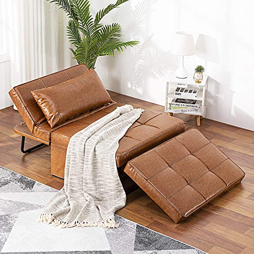 Vonanda Leather Ottoman Sleeper Chair Bed,Small Modern Couch Multi-Position Convertible with Selected Leather Fabrics and Unique Sturdy Frame for Small Space, Caramel