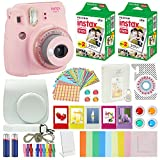 Fujifilm Instax Mini 9 Instant Camera Clear Pink Compatible Carrying Case + Fuji Instax Film Value Pack (40 Sheets) Accessories Bundle, Color Filters, Photo Album, Assorted Frames