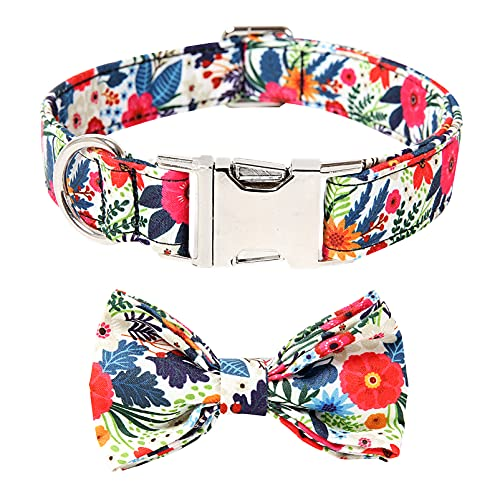 Timos Dog Collars with Bowtie Adjustable Cute Dog Collar for Small Medium Large Dogs