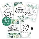 45 Meilensteinkarten für die Schwangerschaft im Eukalyptus Design mit hochwertiger Geschenkbox I Persönliches Geschenk-Set für Schwangere I Schwangerschaftstagebuch