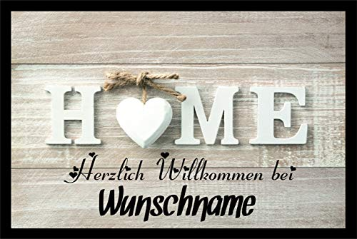 Crealuxe Fussmatte - Herzlich Willkommen (Wunschname) - Motiv Home .Fussmatte Bedruckt Türmatte Innenmatte Schmutzmatte lustige Motivfussmatte
