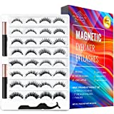 Magnetic Eyelashes and Magnetic Eyeliner Kit, 16 Pairs of Different Styles Reusable 3D 6D Magnetic Eyelashes with 2 Special Magnetic Eyeliners and Tweezers, Easy to Apply with Natural Look