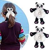 Cute Plush Bear Scrunchies, Cute Bear Tie Hair Head Rope Ponytail Holster, Women Fashion Plush Bear Hair Tie Elastic Hair Bands 2Pcs (Animal, Panda)