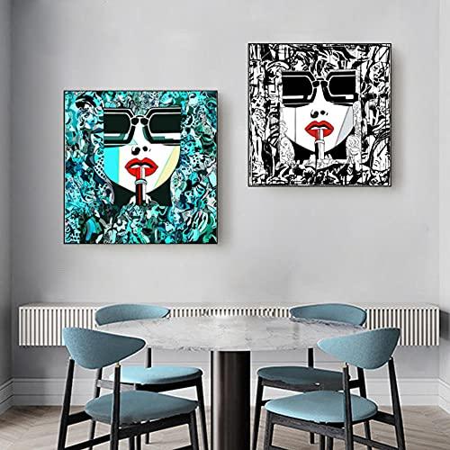 SNGTOW Labios Coloridos Abstractos Lápiz Labial Arte de la Pared Pinturas en Lienzo Gafas de Sol Mujeres Póster con Estampado Decorativo para Sala de Estar | 50x50cmx2 Sin Marco