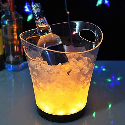 N\A Cubo Hielo For los Colores del Partido Home Bar DEC889 LED Cubo de Hielo Heladera for vinos Cambio de los vinos de Champagne Cubo (Color : Double Handle transp)