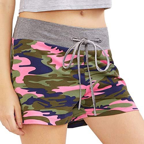WOZOW Shorts Kurze Hose Damen Camo Muster Print Druck Patchwork Loose Lose Bequem Sporthose Sweathose Pyjama High Waist Casual Military Mini Stoffhose Freizeithose (XL,Rosa)