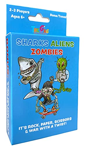 Sharks Aliens Zombies: Fun Card Game for Kids Played Like Rock Paper Scissors War for Boys Girls Family Game Night Gift Giving
