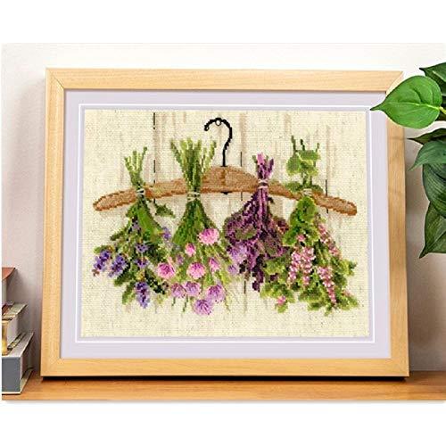 Verwendungszweck Anlagen und Blumenkreuzstich-Paket 18CT 14CT Hellgelbes Tuch Baumwollfaden-Stickerei Handgemachte Handarbeit Kreuzstich-Malerei