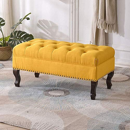 FFZW Zapateros Zapato de Largo sofá de la Sala de heces heces Cambio de Lino Resto fecal en casa Escabel Guardarropa (Color : Yellow, Size : Length 41.34inch)