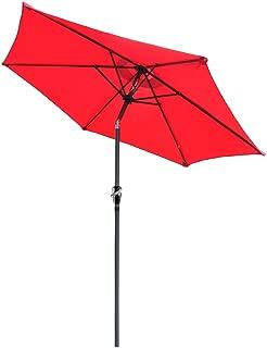 Yescom 2.5m(8ft) 6-Rib Outdoor Garden Patio Aluminium Parasol Market Table Umbrella with Push Button Crank Tilt Red