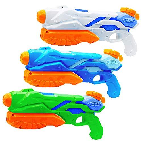 MOZOOSON Pistolas de Agua Juguete para Niños, 3 x 300ML Water Gun con 8-10M Larga Distancia