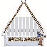 Solution4Patio Homes Garden Adirondak Chair Bird Feeder for Outside Outdoor Wooden Bird Feeder Swing Chair Wild Bird Feeder Porch Decorative #G-8455