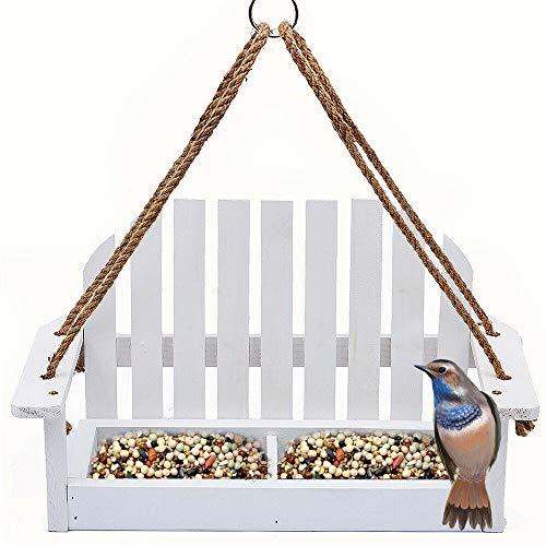 Solution4Patio Homes Garden White Swing Adirondack Chair Bird Feeder Cute, Metal Mesh Bottom for Outside Backyard Porch Decorative, Bench Wooden Bird Feeder Wild Bird Essentials, Gift #G-8455