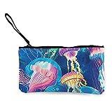 Monedero de Lona para Mujer, Medusas Multicolores en el mar Carteras de Monedero con Estampado 3D de Lona Unisex para Hombres y Mujeres