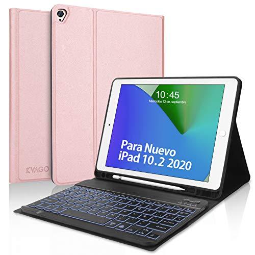 Teclado para iPad 10.2,KVAGO Funda con Teclado Español para iPad 8ª Generación 2020 10.2 /iPad 2019 10.2/iPad Air 3/iPad Pro 10.5, Teclado Bluetooth con Inteligente Funda Protectora,Oro Rosa