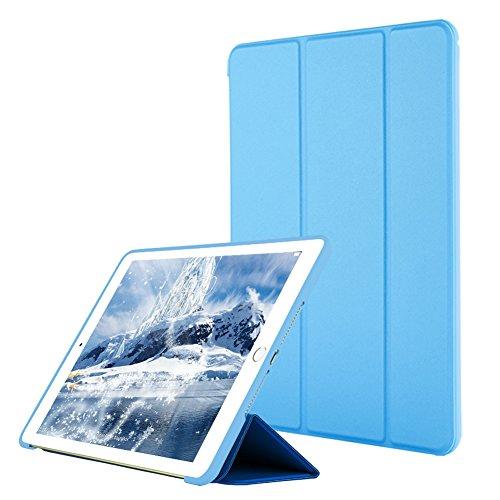 VAGHVEO Custodia per iPad Air, Ultrasottile e Leggere Smart Case con Funzione Auto Sleep Wake Silicone Morbido TPU Cover per Apple iPad Air 1 9.7 Pollici 2013 (Modello A1474,1475,1476), Azzurro