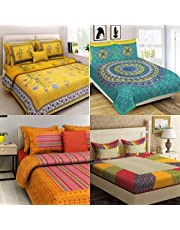 SHILPIIMPEX 100% Jaipuri Cotton Combo Set of 4 Double Bedsheet with 8 Pillow Covers(Multi)