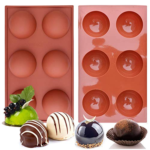 6-Cavity Semi Sphere Silicone Mold,2 Packs Extra Large Chocolate Bombs Molds Baking Mold for Making Hot Chocolate Bomb, Cake, Jelly, Dome