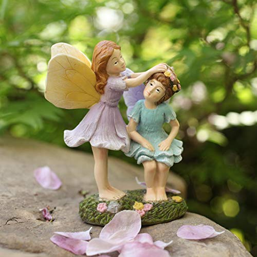 LA JOLIE MUSE Miniature Fairy Garden Figurines - 4 Inch Hand Painted Resin Fairy Sisters Figurines for Indoor & Outdoor Holiday Ornaments Gifts for Mom Girls Kids Adults