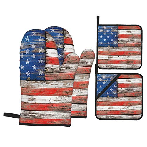 KXT USA Flag on Vintage Wood Oven Mitts and Pot Holders,4PCS Heat Resistant Kitchen Gloves,Non-Slip 2 Oven Mitts,2 Pot Holders for Cooking,Baking, Grilling,Barbecue