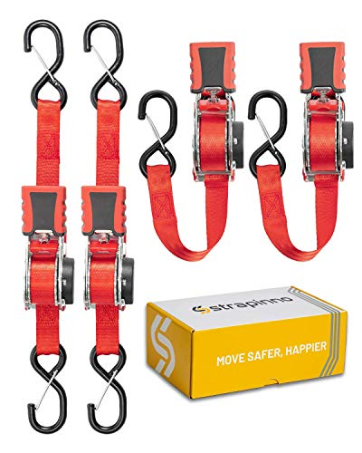 of ratchet tie down straps dec 2021 theres one clear winner STRAPINNO 4pcs Retractable Ratchet Straps (1-in x 10-ft), Secure Tie-Downs with Rubber-Coated Steel Handles, S-Hooks & Durable Hardware for Daily Use with Breaking Strength - 1,500LBS/680KG Each