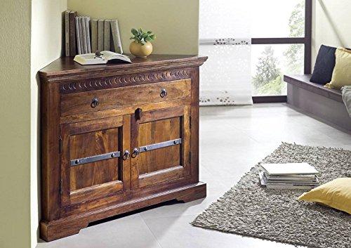 MASSIVMOEBEL24.DE Kolonialmöbel Eckkommode Akazie massiv Holz Oxford #505