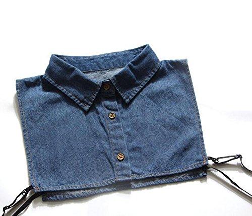 Demarkt Denim Col Chemise Faux Col Décoratif Col Décoratif Pull-Over Coton Bleu