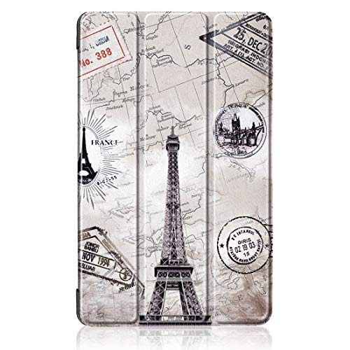 JIAOCHE Patrón Torre Eiffel Funda de Cuero PC Custer Textura Vuelta Horizontal for Xiaomi Mi Pad 4 Plus, con el sostenedor y el sueño de Tres Plegado/Función de Despertador