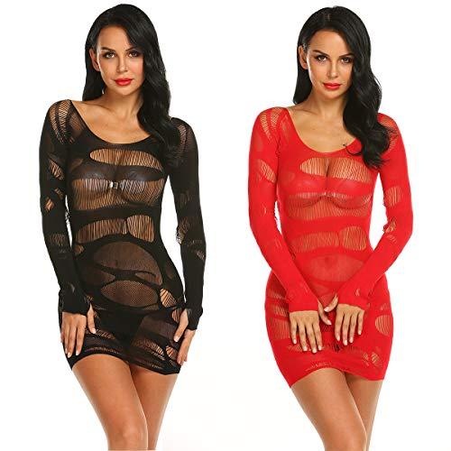 LOVELYBOBO 2 Pack Donna Babydoll Set Sexy Lingerie Pizzo Sleepwear Nightwear Set Teddy Lingerie Babydoll Sexy Body da Donne Completi Intimi Erotico