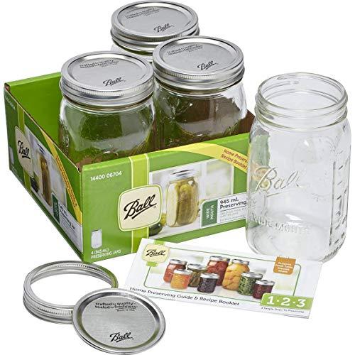 BALL MASON JARS 1440006704 - Paquete de 4 frascos de 945 ml para conserva con boca ancha