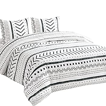 Wake In Cloud - Aztec Comforter Set 100% Cotton Fabric with Soft Microfiber Fill Beddings Black Pattern Printed on White  3pcs King Size
