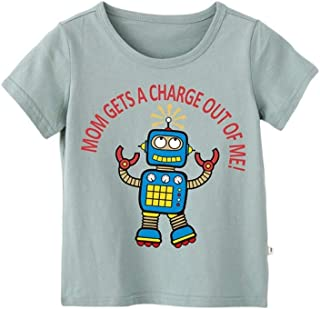 Mornyray Baby Boys Stylish Cartoon Robot Printing Cotton Top Short Sleeve Summer T-Shirt Kids Casual Playwear Daily Outfit Fashion Wild Boys Sport Bottoming Tee(3-8T)