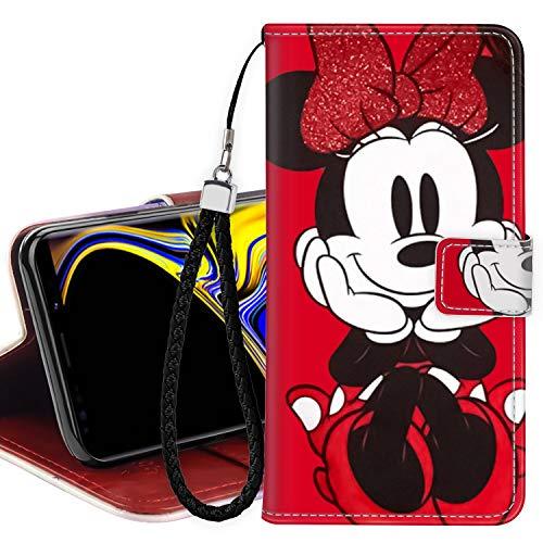 DISNEY COLLECTION - Custodia a portafoglio per Samsung Galaxy Note 9, in pelle sintetica, con supporto magnetico per carte di credito, con cinturino da polso, per donne e ragazze