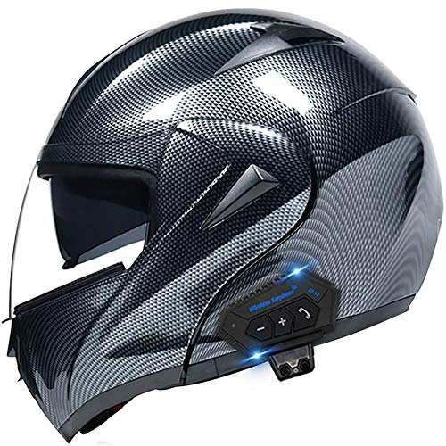 DUCCM Casco de Motocicleta abatible con Bluetooth, Cara Completa antivaho de Doble Visor Cascos de Moto Casco de protección para Scooter para Hombres y Mujeres Adultos
