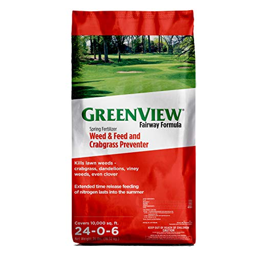 GreenView 2129173 Fairway Formula Spring Fertilizer Weed & Feed with Crabgrass Preventer, 36 lb. -Covers 10,000 sq. ft