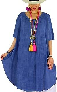 FSSE Women's Cotton Linen Relaxed Fit Solid Roundneck Short-Sleeve T-Shirt Dress
