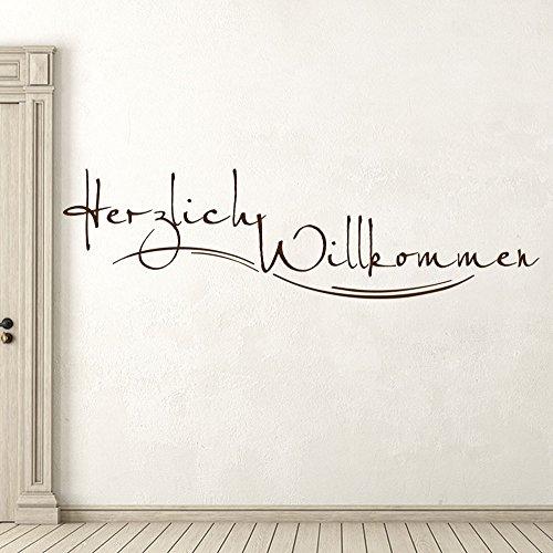 KLEBEHELD® Wandtattoo Stylisches Herzlich Willkommen für Flur und Eingang Farbe schwarz, Größe 100x28cm