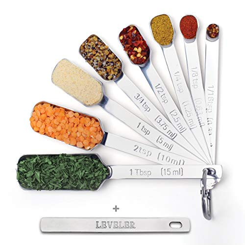 2lbDepot Measuring Spoons Set of 9 Includes Bonus Leveler, Premium, Rust Proof, Heavy Duty, Chrome Plated, Stainless Steel Metal, Narrow, Long Handle Design fits into Spice Jars