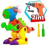 Akokie Dinosaurios Juguetes Puzzle Juegos de Construccion con Taladro Construcciones Regalo para Niños 3 4 5 años