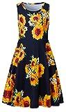 BFUSTYLE Girls Floral Dresses Summer Tank Playwear Skater Dress Twirl Frocks Sleeveless Casual Sundress for Kid Girl Sunflower