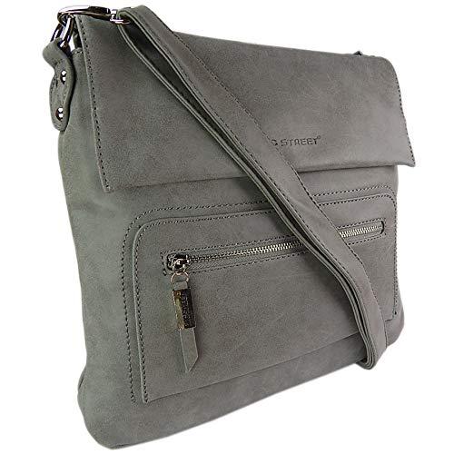 ekavale Schultertasche aus weichem Leder-Imitat Damen Umhängetasche Flache Form Grau (Grau)