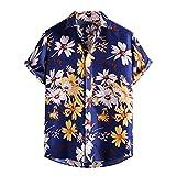 GBEN Camisa de lino para hombre, estilo vintage étnico Henley, manga corta, verano, informal, hawaiana, de moda, para la playa, de manga corta
