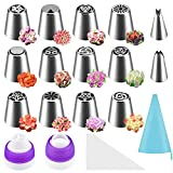 Different Piping Tips: There are 12 different Russian piping tips and 2 small flowers nozzles in a package, that you can use them to do beautiful patterns like flowers figures roses tulips flowers leaves and stars. Easy To Use: Just squeezing on your...