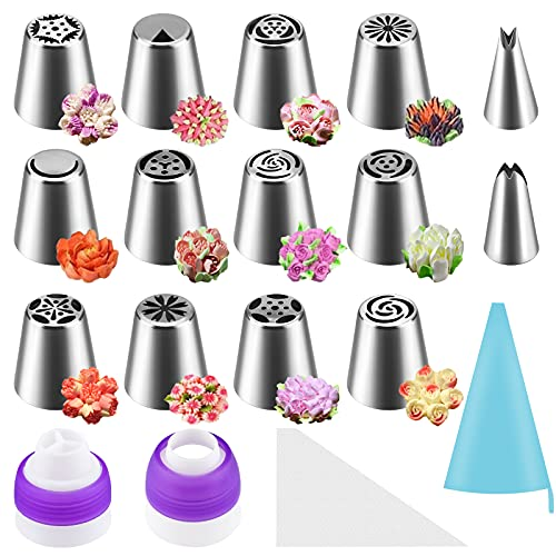 Russian Piping Tips Set 27Pcs - FPVERA Cake Flower Decorating Icing Tip Kit & Cupcake Frosting Decor Nozzle Icing Tools & Russia Cake Floral Decoration Flowers for Baking