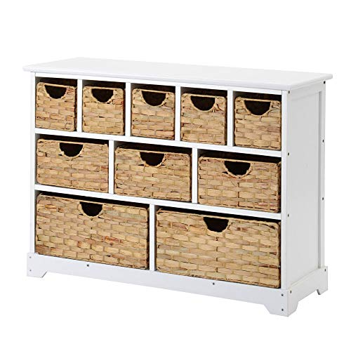 Weret Large Storage Chest of Drawers with Baskets, for Solid Paulownia Sideboard for Hallway Bathroom (10 drawers)-white