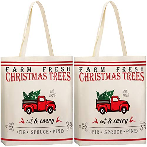 2 Pieces Christmas Tote Bags Christmas Trees Bags Farm Fresh Cotton Tote Bags Sacks Bag Reusable Canvas Tote Shoulder Bag Shopping Bag Handbag for Christmas Party Grocery Shopping Market